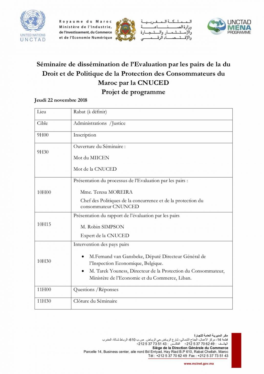 Programme – Dissemination of UNCTAD's Voluntary Peer Review on Consumer Protection Law and Policy of Morocco, 22-23 Nov 2018 Rabat Morocco