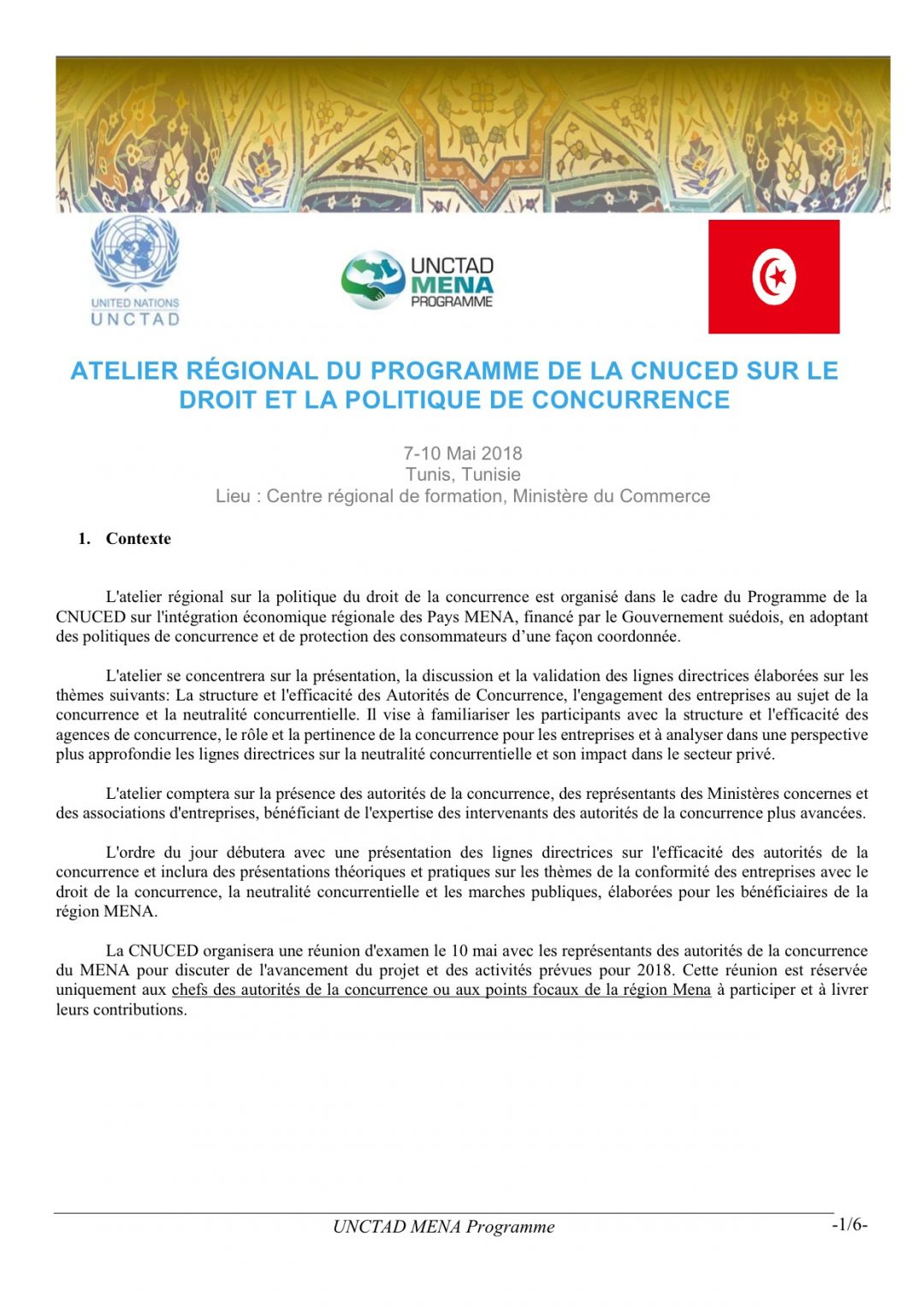 Programme – Regional Workshop on Competition Law and Policy, 7-10 May 2018 Tunis Tunisia