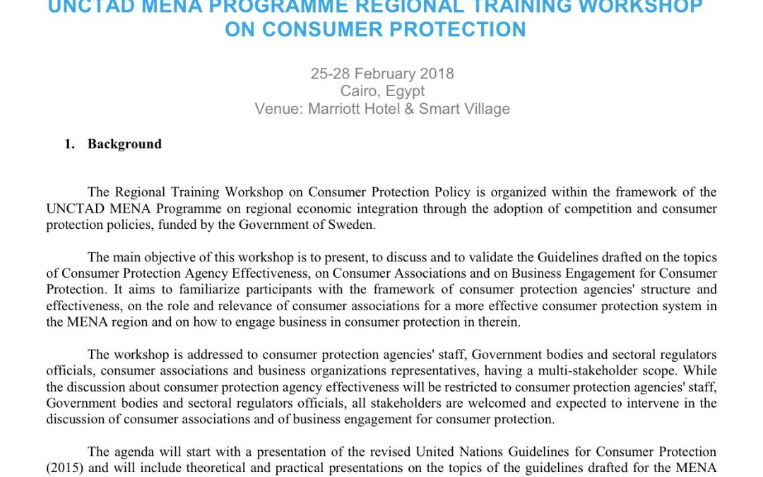 Programme – Regional Workshop on Consumer Protection Policy, 25-28 Feb 2018 Cairo Egypt