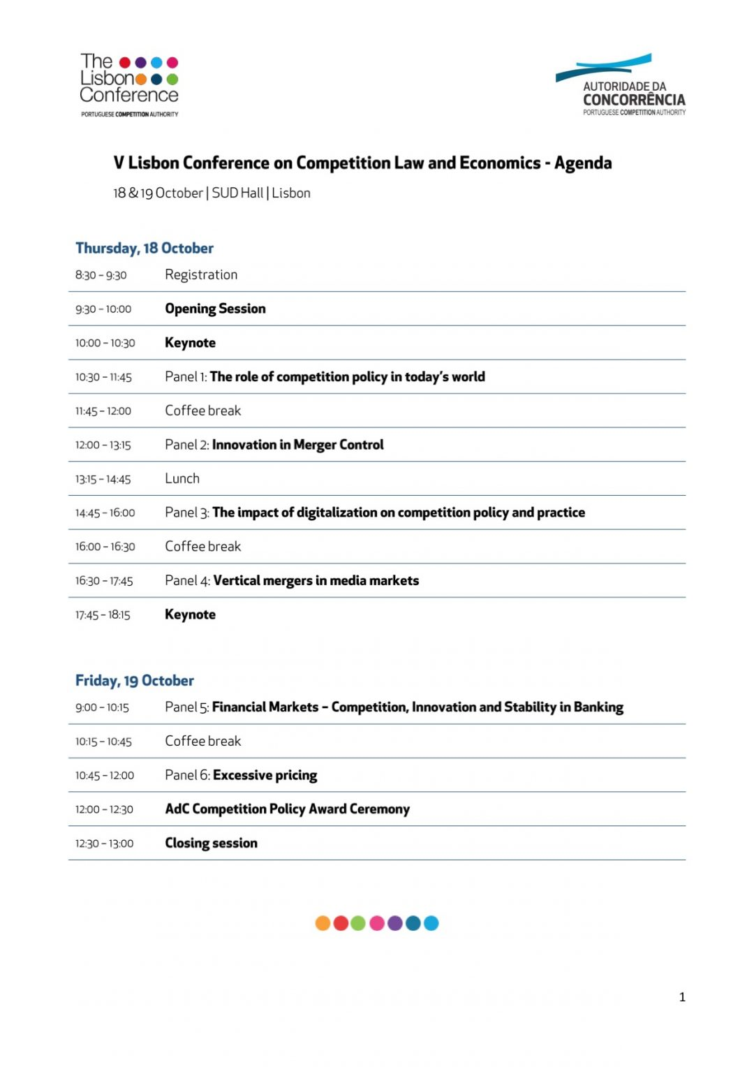 Programme – UNCTAD MENA Participates at the V Lisbon Conference in Competition Law and Economics,18-19 Oct 2018 Lisbon Portugal